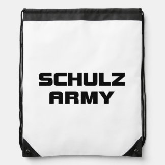 Schulz Army White Drawstring Backpack