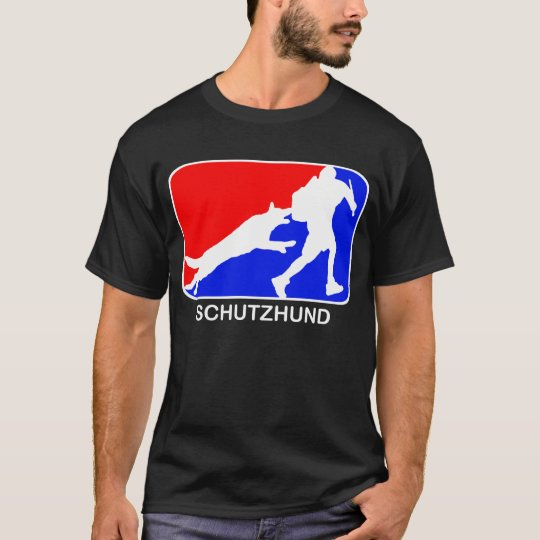 schutzhund red and blue logo dark t-shirt