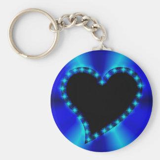 schwarzes Herz mit Sternchen auf blau Regenbogen Schlüsselanhänger