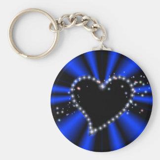 schwarzes Herz mit Sternchen auf blau - schwarz Schlüsselbänder
