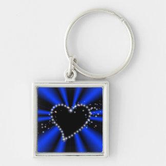 schwarzes Herz mit Sternchen auf blau - schwarz Schlüsselanhänger