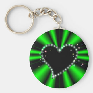 schwarzes Herz mit Sternchen auf grün - schwarz Schlüsselband