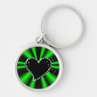 schwarzes Herz mit Sternchen auf grün - schwarz Schlüsselanhänger