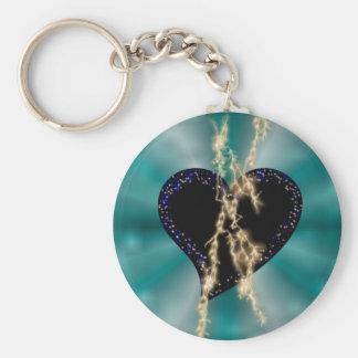 schwarzes Herz mit Sternchen und Blitz auf grün Schlüsselanhänger