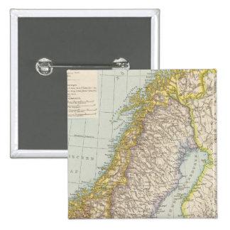 Schweden, Norwegen - Sweden and Norway Map 15 Cm Square Badge