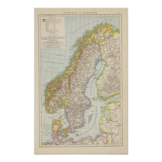 Schweden, Norwegen - Sweden and Norway Map Poster