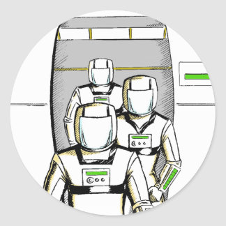 Sci-Fi Astronauts Round Sticker