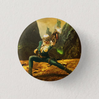 Sci-Fi Female Soldier Fighting Back 3 Cm Round Badge