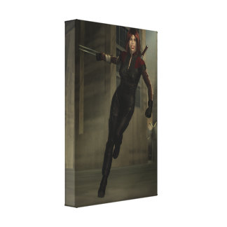 Sci Fi Heroine Cityscape Digital Fantasy Art Stretched Canvas Prints
