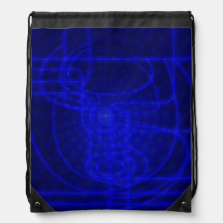 Sci-Fi Neon Circuits Drawstring Bag