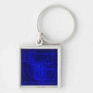 Sci-Fi Neon Circuits Silver-Colored Square Key Ring