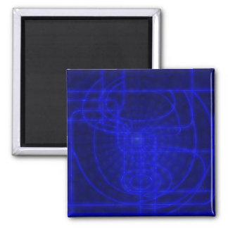 Sci-Fi Neon Circuits Square Magnet
