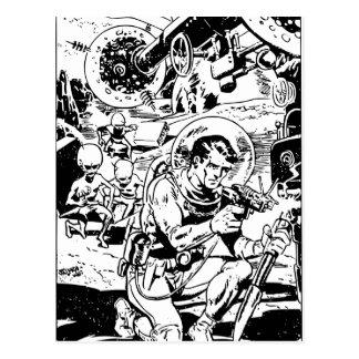 Sci-Fi Retro Spaceman and Aliens Postcard