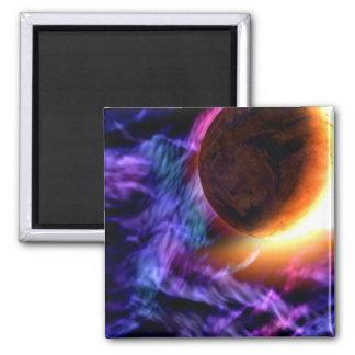 Sci-Fi Space Scene Square Magnet