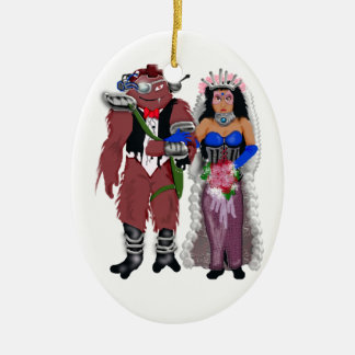 sci-fi wedding 2 christmas ornaments