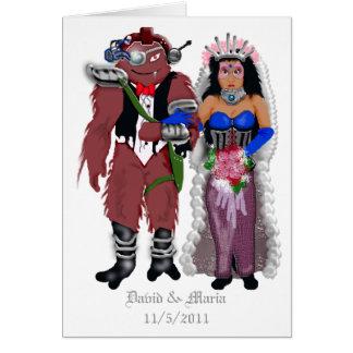 sci-fi wedding 2 greeting card