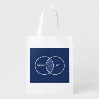 Science / Art Venn Diagram Reusable Grocery Bags