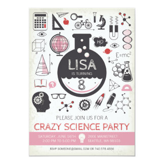 Science Birthday Invitation - Girl