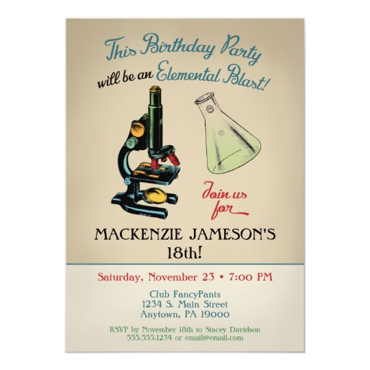 Science Birthday Invitation Microscope Zazzlecouk