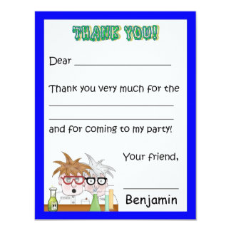 Science Birthday Party Thank You Note Chemistr Card