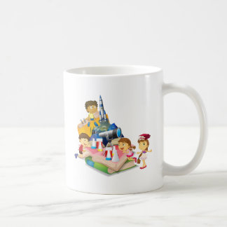 Science book with children and equipment basic white mug