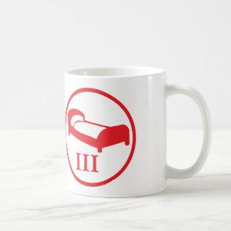 """""""science deprives me of my bed""""-badge LEVEL III Basic White Mug"""