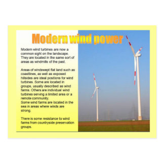 Science, Electricity Modern wind power Postcard
