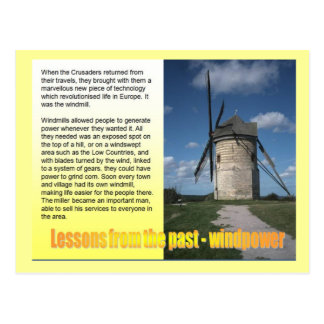 Science, Electricity Windmills lessons from past Postcard