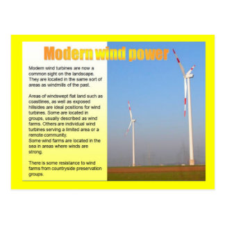 Science, Energy, Electricity, Modern wind power Postcard