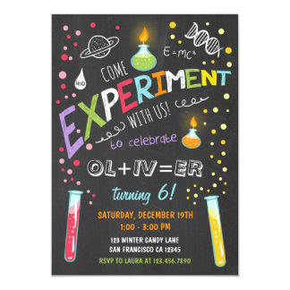 Science Experiment Birthday Invitation Boy