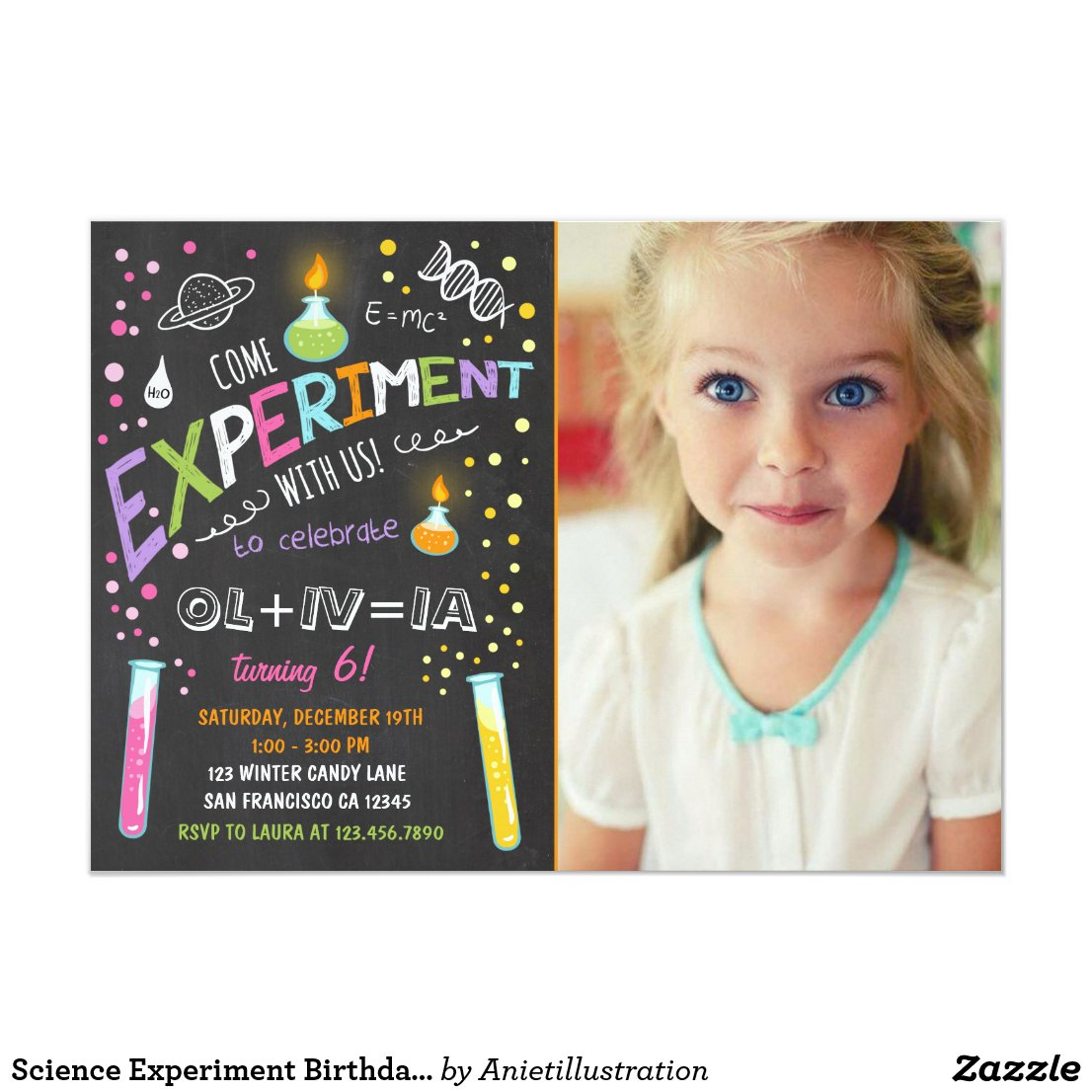 Science Experiment Kids' Birthday Party Invitation Girl