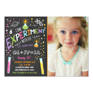 Science Experiment Birthday Invitation Girl