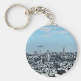 Science Fiction Cityscape Basic Round Button Key Ring