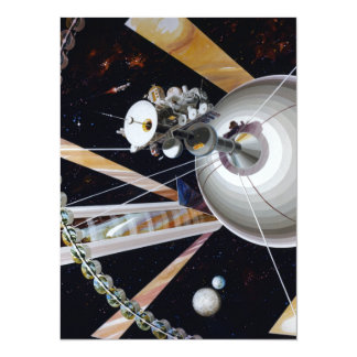 Science Fiction Space Station of Future 14 Cm X 19 Cm Invitation Card