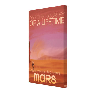 Science Fiction Vintage Mars Vacation Illustration Stretched Canvas Prints