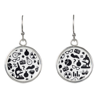 Science for Scientist Pattern (Black and White) Earrings