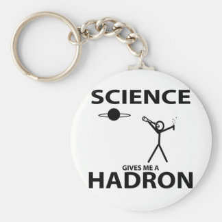 Science Gives Me a Hadron Stick Figure Nerd Gear Basic Round Button Key Ring