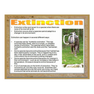 Science, Life science, Extinction of a species Postcard