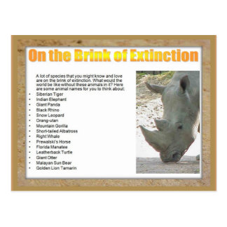 Science, Life Science, On the brink of extinction Postcard