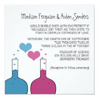 """Science of Love Wedding Invite 5.25"""" Square Invitation Card"""