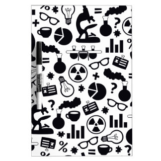 Science Pattern black on white Dry Erase Board
