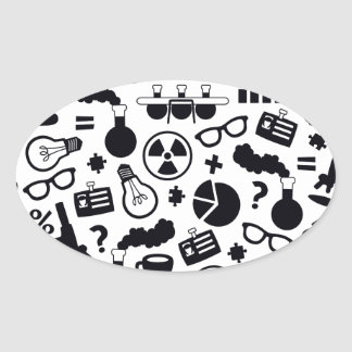 Science Pattern black on white Oval Sticker