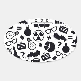 Science Pattern black on white Oval Sticker