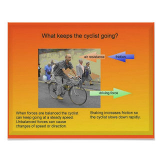 Science, Physics,Forces and motion, cycling Poster