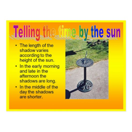 Science, Physics, Telling the time by the sun Post Cards