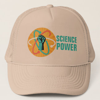 Science Power Fist & Retro Atom on Sunburst Trucker Hat