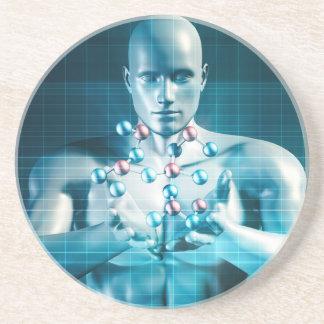 Science Research as a Molecule Concept Drink Coasters