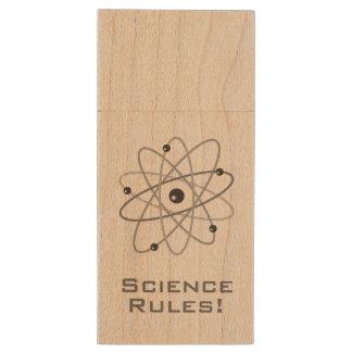 Science Rules! - Atom (006) Wood USB 2.0 Flash Drive