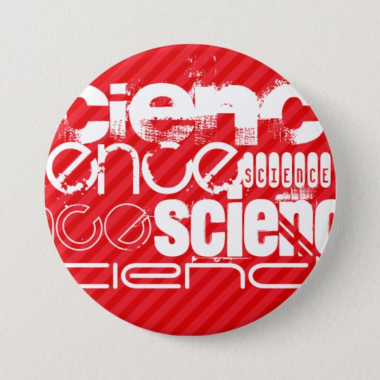Science; Scarlet Red Stripes 7.5 Cm Round Badge