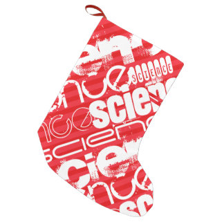 Science; Scarlet Red Stripes Small Christmas Stocking